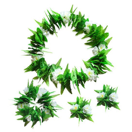 Hawaiian flower necklace - 4pcs Simulation Leaves Floral Garland Hawaiian Leis Flower Necklace Bracelets Wreath Wedding Party