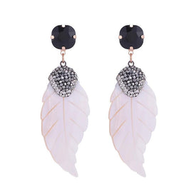 Crystal drop earrings - Aretes Feather Wedding Shell Crystal Long Drop Earrings For Women Bohemian Big Earrings