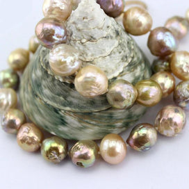 Large pearl necklace - Colorful Genuine Natural Freshwater Edison Reborn Round Large Pearl Bead Gold Filled Clasp Necklace
