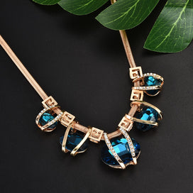 Blue statement necklaces - Big Blue Crystal Pendant Necklace Gold Choker Statement Bib Necklace Women Fashion Jewelry
