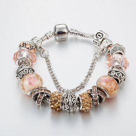 Pink Crystal Charm Silver Bracelets & Bangles For Women With Murano Beads Silver Bracelet