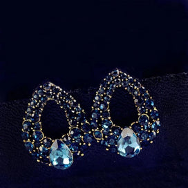 Rhinestone drop earrings - 1pair Teardrop Blue Rhinestone Crystal Earrings Stainless Steel Post Pin For Woman Wedding Bridal