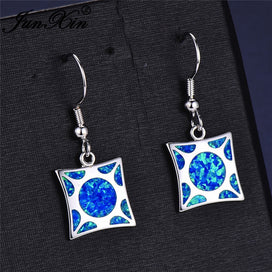 Square drop earrings - Christmas Jewelry Square Stone Blue Fire Opal Drop Earrings For Women 925 Sterling Silver Rainbow