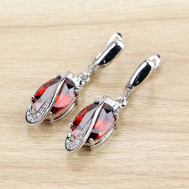 Cubic zirconia dangle earrings - 925 Sterling Silver Drop Earrings Red Cubic Zirconia White Zircon Beads Drop Dangle Earring