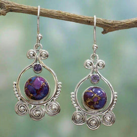 Crystal drop earrings - 8 Seasons Vintage Geometric Round Hollow Out Drop Earrings For Women Purple Stone/Crystal Wedding