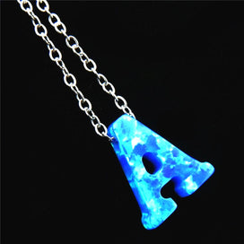 Blue opal necklace - 26 Initial Synthetic Letter Necklace A-Z Blue Fire Capital Letters Opal Pendant Stainless Steel Chain