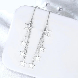 1 ct diamond earrings - Star Tassel Earrings Chain 925 Sterling Silver Simulated Pearl Earrings
