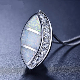 Sterling silver opal necklace - Cute Female Big Horse Eye Pendants Necklaces Vintage 925 Sterling Silver Jewelry Boho Blue