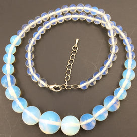 Grace Tower Chain Necklace For Women Round Opal Stone 6-14mm Beads Crystal Opalite Fashion Statement Choker Jewelry - opal bead necklace, opal crystal necklace, opal necklace, opal stone necklace