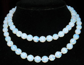 Opal bead necklace - 10mm Faceted White Opal Round Beads Necklace