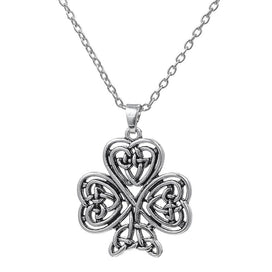 Love knot necklace - Antique Silver Plated Hollow Four Leaf Clover Pendant Necklace Irish Love Knot Cross Lucky Jewelry For