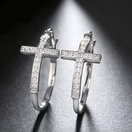 Cubic zirconia hoop earrings - Big Hoop Earrings With CZ Diamonds Classic Cross Style Clip Design Women's Earring Jewelry