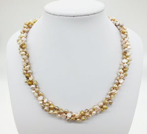 3 strand pearl necklace - 3 Strand Natural Color Freshwater Baroque Pearl Necklace