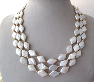 3 strand pearl necklace - 3 Strands Natural White Rhombus Freshwater Pearl Necklace For Wedding