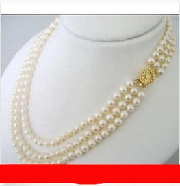 3 strand pearl necklace - 3 Rows White Cultured Freshwater Pearl Choker Necklace