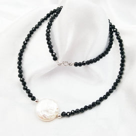 Double strand pearl necklace - Natural Black Spinels 2-3MM Coin Freshwater Pearl 925 Sterling Silver Clasp Necklace