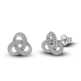 Celtic knot earrings - Authentic 925 Sterling Silver Lucky Celtics Knot Stud Earrings For Women Girls Gift Fashion Silver