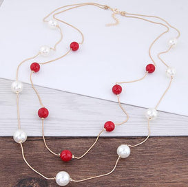 Long pearl necklace - Europe & America Fashion Simple Long Colored Pearl Bohemia Beads Multi-layer Snake Chain Necklace