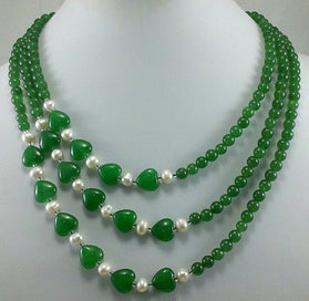 White pearl necklace - 3 Rows Stunning Green Red Heart-shaped Jades White Pearl Necklace