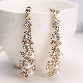 Large chandelier earrings - Fashion Crystal Women Lady's Pearl Rhinestone Dangle Chandelier Earrings Jewelry