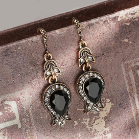 Black crystal earrings - Black Stone Drop Earrings For Women Antique Gold Water Drop Crystal Wedding Earrings Vintage Jewelry