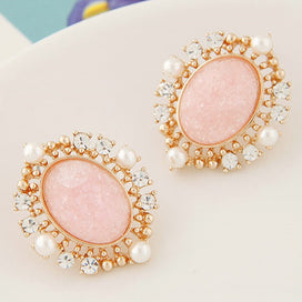 Pearl and crystal earrings - Vintage Gold Color Earrings For Women Crystal Simulated Pearl Statement Big Earrings Fashion