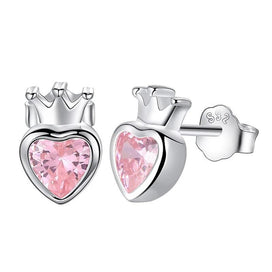 Sterling silver heart earrings - Romantic Wedding 925 Sterling Silver Pink Heart Crystal Stud Earrings For Women Fashion Girl