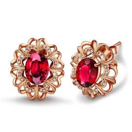 Red crystal earrings - European And American Fashion Classic Rose Gold Earrings Exquisite Red Crystal Women Wedding Elegant