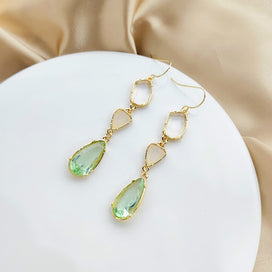 Crystal dangle earrings - Acrylic Drop Women Dangle Earrings Retro Light Green Transparent Crystal Earrings Bohemian Drop