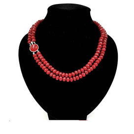Ruby beads necklace - Natural Rubys Color Jades Faceted Beads 8mm Double Strand Jades Stone Clasp Fashion Necklace