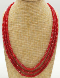 Ruby beads necklace - Pretty 2x4mm Natural Red Ruby Gemstone Faceted Abacus Beads 3 Row Necklace