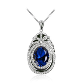 Blue sapphire necklace - 925 Sterling Silver Ruby Sapphire Gemstone White Gold Pendant Necklace Party Cocktail Jewelry