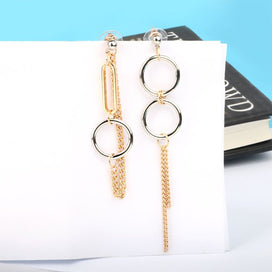 Dangle chain earrings - 1 Pair Long Chain Tassel Earrings Dangle Personality Ring Drop Irregular Women Jewelry Unisex Korean