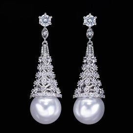 Cubic zirconia dangle earrings - Elegant Women Simulated Pearl Jewelry For Party Gift Big Crystal Stone Paved Silver Color
