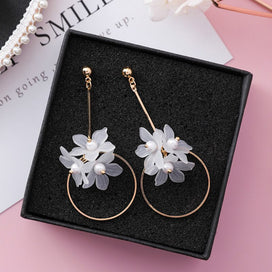 Flower dangle earrings - Acrylic Fashion Women Dangle Earrings Korean Flower Long Pendant Earrings Holiday Geometric Jewelry
