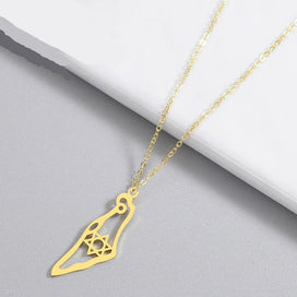 Jewish star necklace - Israel Map Pendant Necklace Stainless Steel Map Of Israel Necklace For Women Magen Star Of David