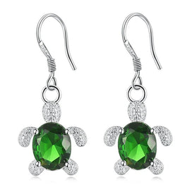1 ct diamond earrings - Fancy Cute Green Crystal Tortoise Dangle Silver Color Drop Earring For Women Party Dating Daily Wear