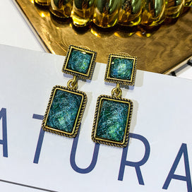 Green dangle earrings - Alloy Vintage Square Women Dangle Earring Retro Green Square Earrings Female Long Style Korean For