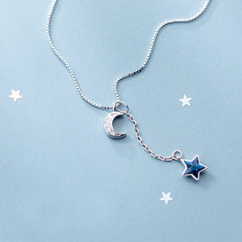Moon and star necklace silver - 925 Sterling Real Silver Box Chain Choker For Women Blue Star & Moon Charms Pendant