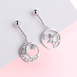 Sterling silver dangle earrings - 925 Sterling Silver Big Round Star Moon Statement Dangle Earrings For Women Lady Fashion