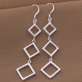 Sterling silver dangle earrings - 925 Silver Square Geometric Dangle Earrings Fashion Jewelry