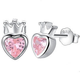 Cubic zirconia stud earrings - 925 Sterling Silver Pink Heart Stud Earrings For Women Silver Crown Earrings For Girl Jewelry