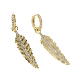 Gold feather earrings - Vintage Classic Women Jewelry Gold Filled CZ Leaf Feather Drop Charm Dangle Earring Fashion