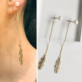 Gold feather earrings - Long Drop Simulated Pearl Earrings For Women Fashion Ear Jewelry Gold Color Feather Dangle Earrings