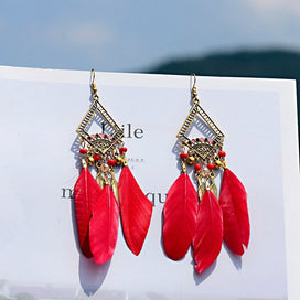 Feather dangle earrings - Ethnic Red Feather Long Earrings For Women Handmade Gypsy Jhumka Jhumki Gold Leaf Indian Beads
