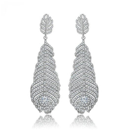 White feather earrings - Jewelry Clear White Cubic Zircon Micro Paved Feather Banquet Party Exaggerated Drop Earrings For