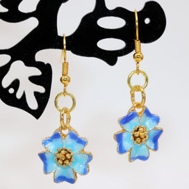 Flower dangle earrings - 15mm Gold-color Flower Cloisonne Dangle Earrings For Women Charms Weddings Party Exquisite Gifts