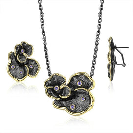 Black statement necklace - Black Gun Vintage Flower Jewelry Sets For Women Retro Statement Yellow Gold Lace Necklace Earrings