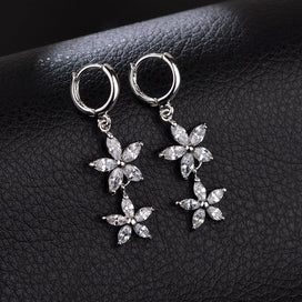 Flower dangle earrings - 11.11 Long Flower Dangle Earrings For Girls Fashion Nickel Free Plating Cubic Zircon Drop Earrings