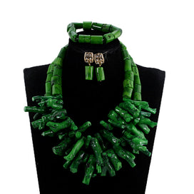 Beaded statement necklace - African Nigerian Wedding Coral Beads Jewelry Set Green Chunky Beads Statement Necklace Set Style